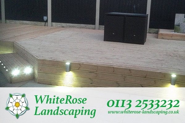 Whiterose Landscaping brightly lit garden decking specialists in Morley